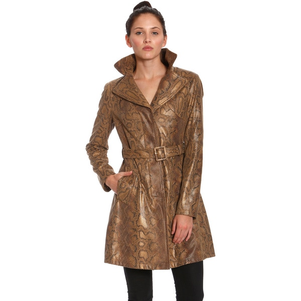 Women's Metallic Faux Python Trench