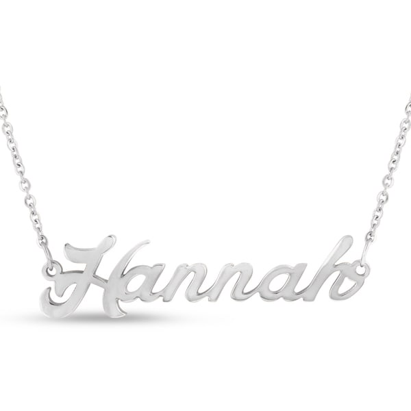 Silver Overlay 'Hannah' Nameplate Necklace
