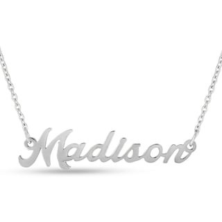 Silver Overlay 'Madison' Nameplate Necklace