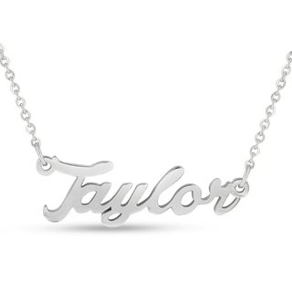 Silver Overlay 'Taylor' Nameplate Necklace