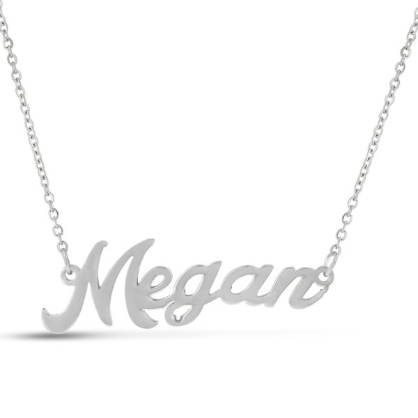 Silver Overlay 'Megan' Nameplate Necklace