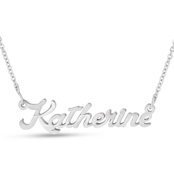 Silver Overlay 'Katherine' Nameplate Necklace