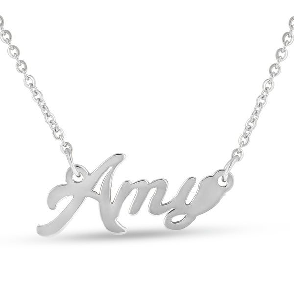 Silver Overlay 'Amy' Nameplate Necklace
