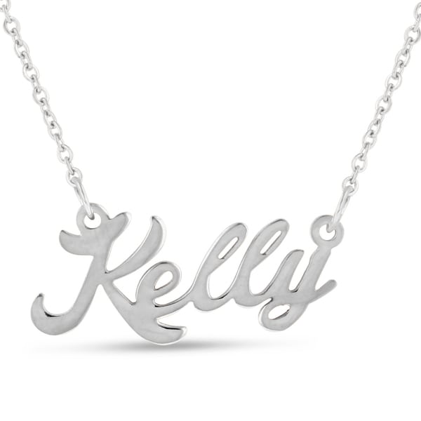 Silver Overlay 'Kelly' Nameplate Necklace