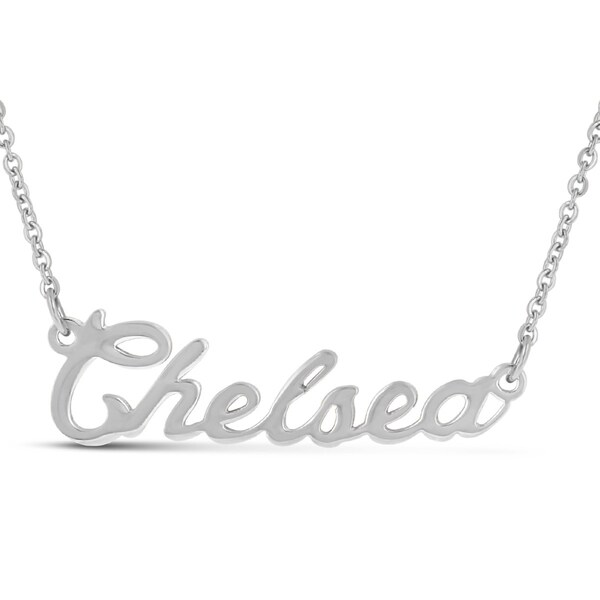 Silver Overlay 'Chelsea' Nameplate Necklace