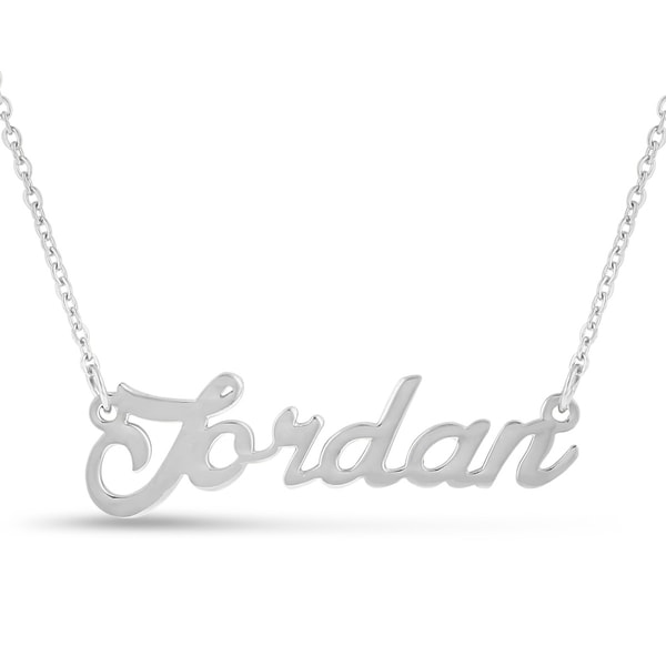 Silver Overlay 'Jordan' Nameplate Necklace