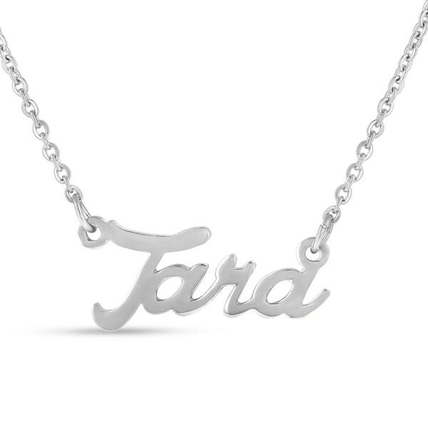Silver Overlay 'Tara' Nameplate Necklace