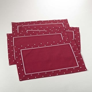 Red Placement with Linen Blend Dotted Border (Set of 4)