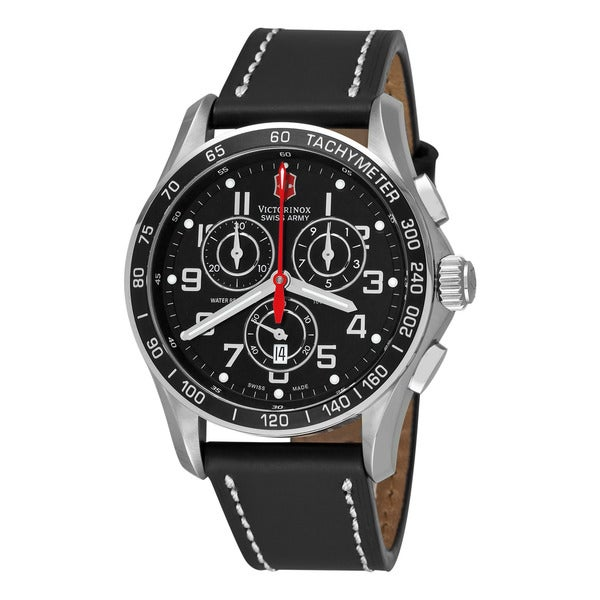 Swiss Army Men's V251444 'Chrono Classic' Black Dial Black Leather Strap Chronograph Quartz Watch