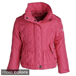 Weatherproof Girls' Padded Quilted Fully Lined Jacket with Detachable Hood