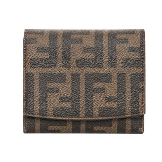 Fendi Zucca Tobacco and Blue Logo Billfold Wallet