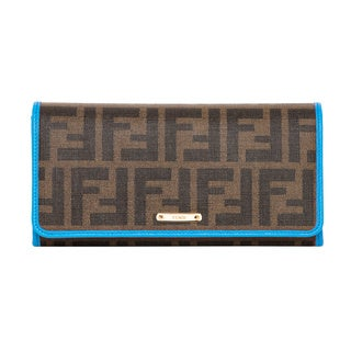 Fendi Zucca Tobacco and Blue Continental Wallet
