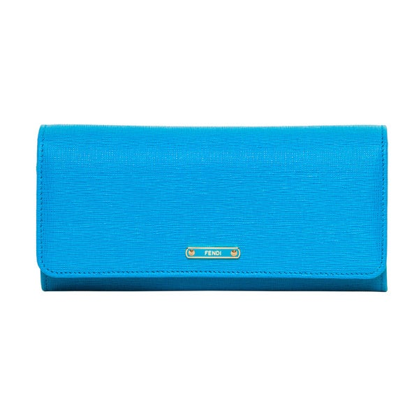 Fendi Crayons Blue Leather Flap-over Wallet
