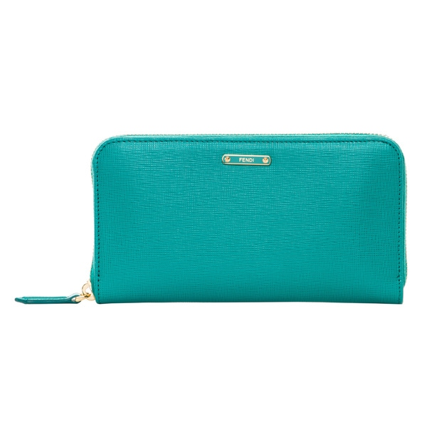 Fendi Crayons Turquoise Leather Zip-around Wallet