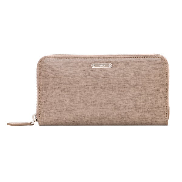 Fendi Crayons Taupe Leather Zip-around Wallet