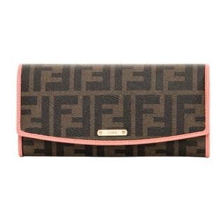 Fendi Zucca Tobacco and Pink Continental Wallet