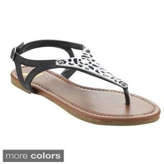Betani Women's Amanda-26 Metallic T-strap Flat Sandals