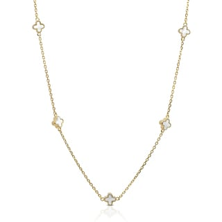 Dolce Giavonna Gold Over Sterling Silver Mother Of Pearl Necklace Flower Design Necklace