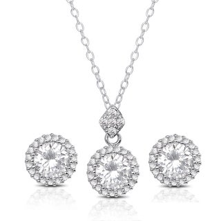 Dolce Giavonna Silver Overlay Cubic Zirconia Necklace and Earrings Set