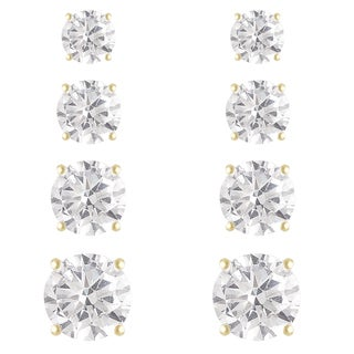 Dolce Giavonna Silver or Gold Overlay 4-pair Round-cut Cubic Zirconia Stud Earring Set