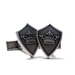 Men's Silvertone 'Crown Sheild' Logo Cufflink