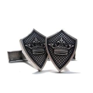 Men's Silvertone 'Crown Sheild' Logo Cufflink