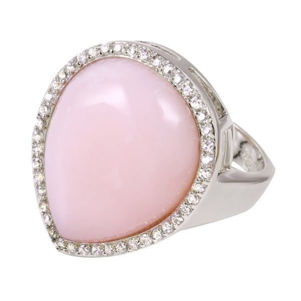 Sterling Silver Pear-cut Pink Chalcedony Cubic Zirconia Ring