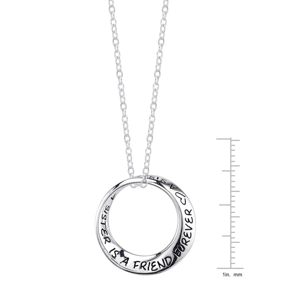Inspirational Sterling Silver Mobius Circle 'A Sister Is a Friend Forever' Pendant