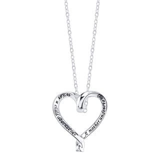 Inspirational Sterling Silver Heart Shape 'A Mother Understands What a Child Does Not Say' Pendant