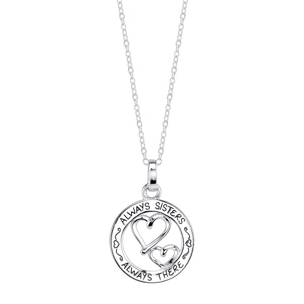 Inspirational Sterling Silver 'Always Sisters Always There' Pendant