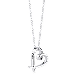 Inspirational Sterling Silver Heart 'Love' Pendant