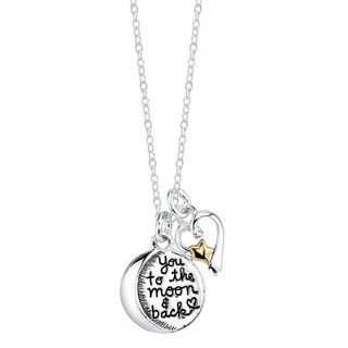 Inspirational Two-tone Sterling Silver 2-piece 'I Love You to the Moon and Back' Pendant