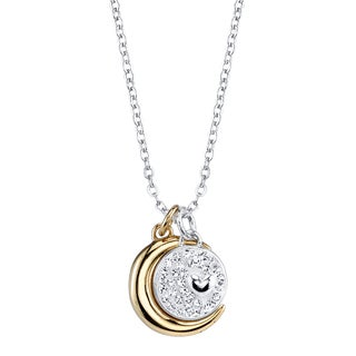 Inspirational Crystal and Two-tone 'I Love You to the Moon and Back' Pendant