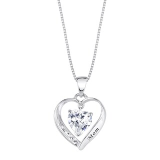 Inspirational Sterling Silver and Cubic Zirconia Heart Shape 'Mom I Love You' Pendant