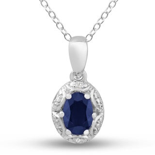 Sterling Silver 1ct Oval-cut Sapphire Diamond Accent Necklace