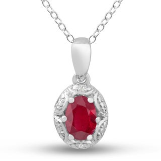 Sterling Silver 1ct Oval-cut Ruby Diamond Accent Necklace