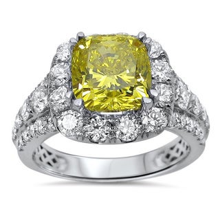 Noori 18k White Gold 3 3/5 TDW Canary Yellow Cushion-cut Diamond Engagement Ring (F-G, SI1-SI2)