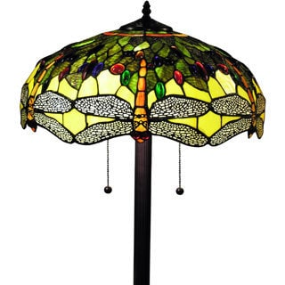 Tiffany-style Verde Dragonfly 18-inch Floor Lamp