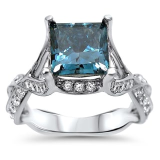 Noori 18k White Gold 2 3/4ct TDW Blue Princess-cut Diamond Engagement Ring (F-G, SI1-SI2)