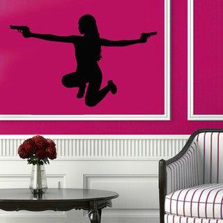 Girl with Pistols Sticker Vinyl Wall Art