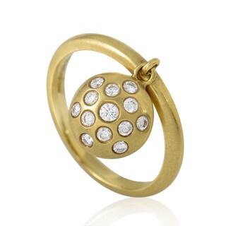 Carelle 18k Yellow Gold Diamond Pave Disc Ring