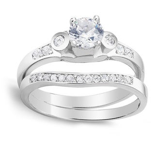 925 Sterling Silver Cubic Zirconia Curved Engagement Ring and Band Set