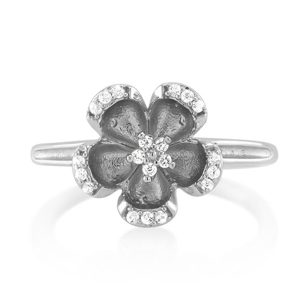 925 Sterling Silver Cubic Zirconia Floral Ring