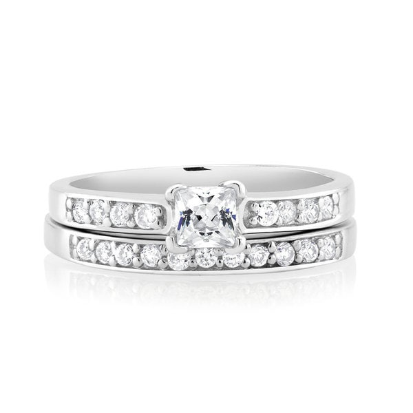 925 Sterling Silver Cubic Zirconia Engagement Ring and Band Set
