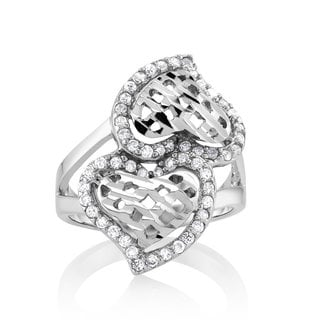 925 Sterling Silver Cubic Zirconia Double Hearts Ring