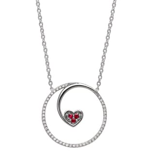 Beverly Hills Charm Sterling Silver 1/6ct TDW Diamond and Ruby Floating Heart Necklace (H-I, I2-I3)