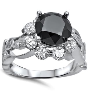Noori Collection 14k White Gold 2 3/5ct TDW Black Diamond Floral Engagement Ring