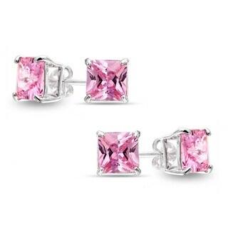 Sterling Silver Princess-cut Pink Sapphire 2-pair Stud Earrings Set