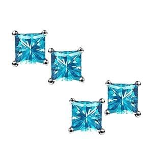 Sterling Silver Princess-cut Blue Topaz 2-pair Earrings Set