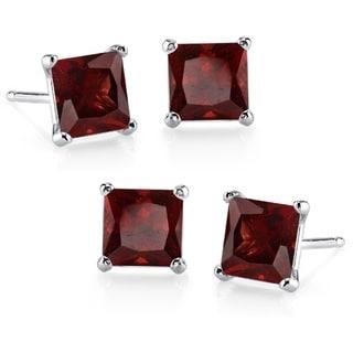 Sterling Silver Princess-cut Garnet 2-pair Stud Earrings Set
